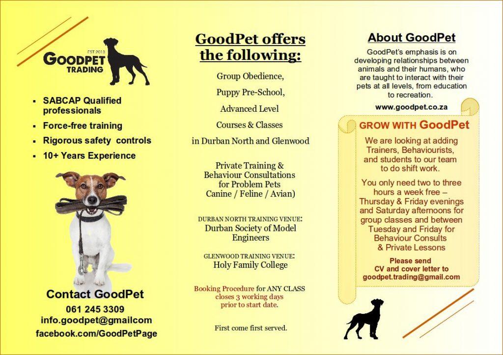 GoodPet Durban dog training Brochure - Services & Hiring