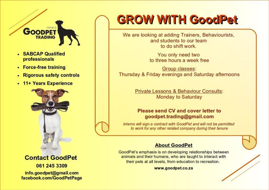 GoodPet Durban Dog Training Brochure - Contact & Vacancy