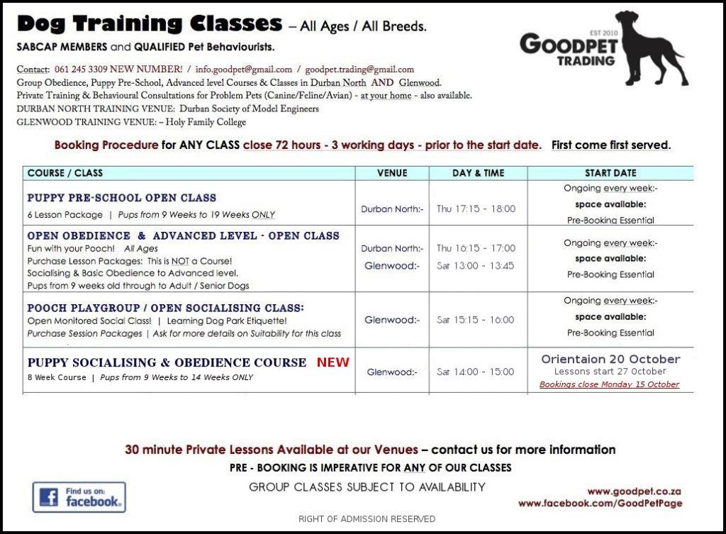 GoodPet Timetable