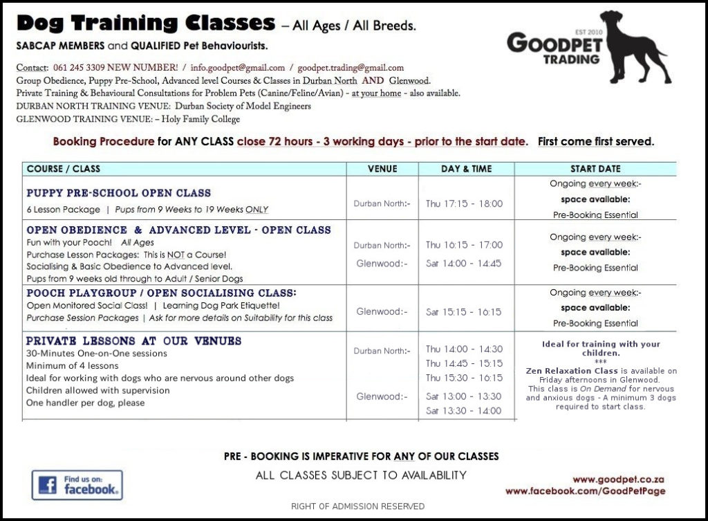 GoodPet Timetable for dog training classes in Durban