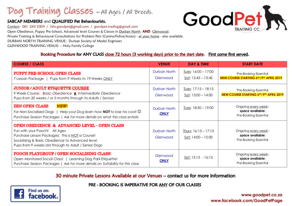 Timetable for GoodPet's Dog Training Classes in Durban
