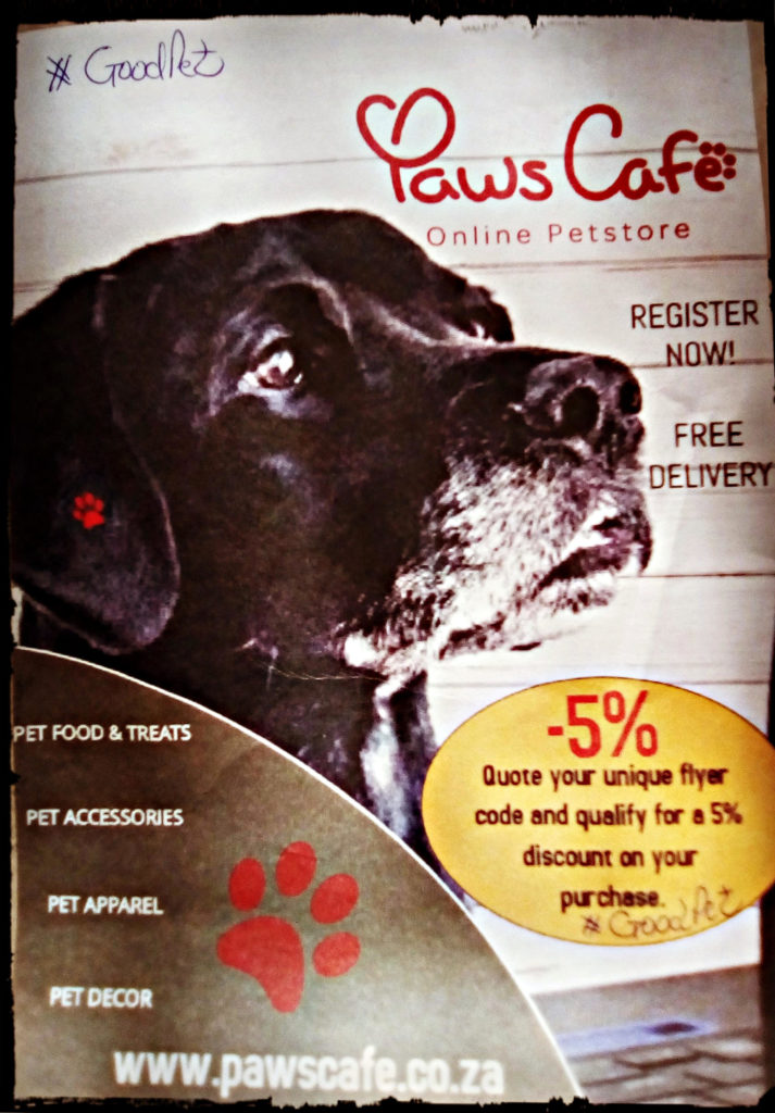 flyer for paws cafe showing 5% discount when you quote #GoodPet